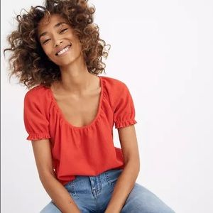 Madewell Texture & Thread Red Peasant Top